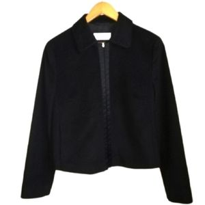 LAUREL Black Virgin Angora & Silk Cropped Blazer